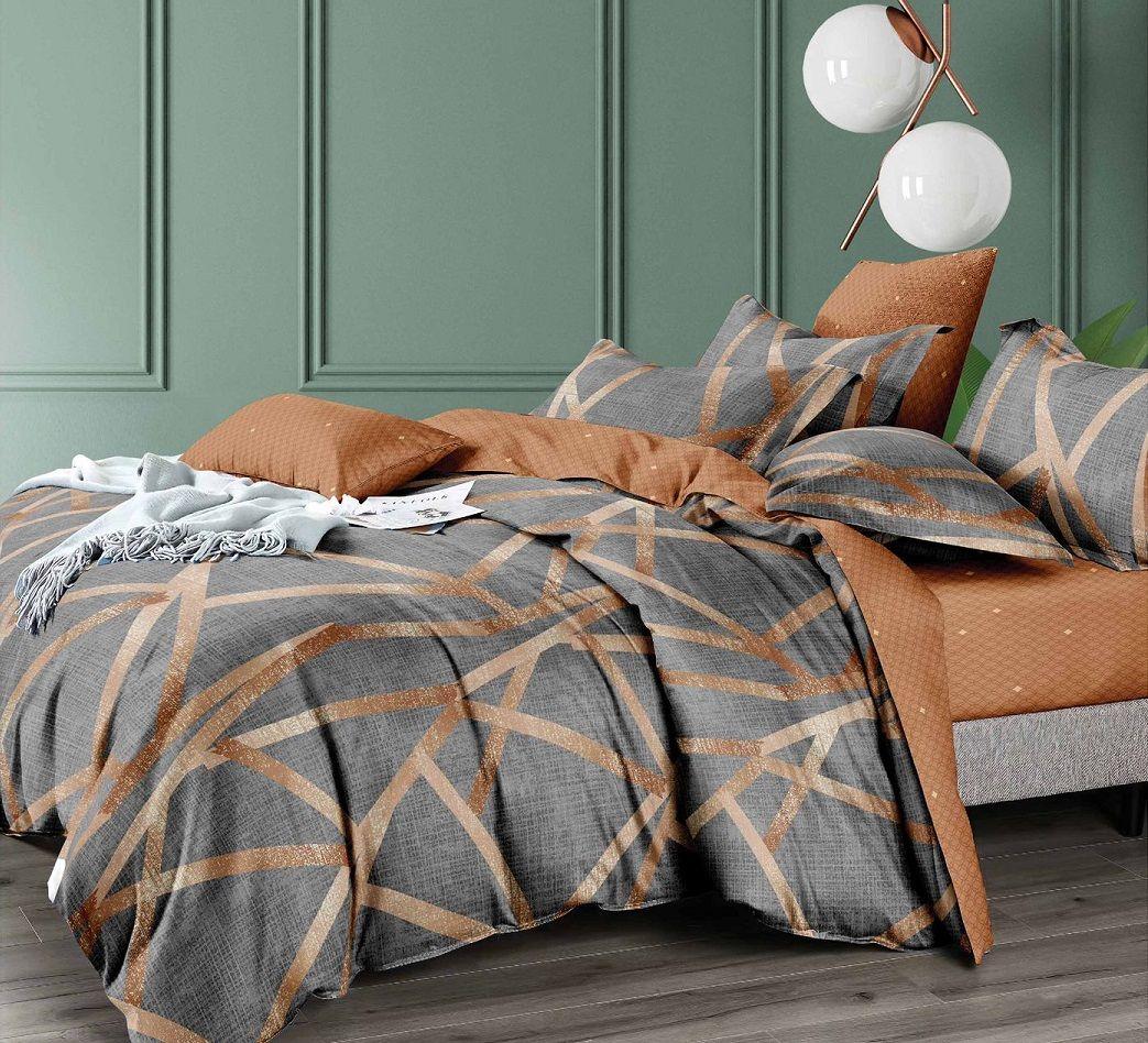 Cuvertură de pat MATLASATĂ prin BRODARE pentru 2 PERSOANE, cu 3 PIESE din BUMBAC SATINAT (model PCU-12)